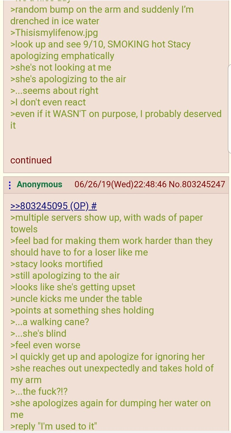 greentext - Text - >random bump on the arm and suddenly I'm drenched in ice water >Thisismylifenow.jpg >look up and see 9/10, SMOKING hot Stacy apologizing emphatically >she's not looking at me >she's apologizing to the air >...seems about right >I don't even react >even if it WASN'T on purpose, I probably deserved it continued 06/26/19(Wed)22:48:46 No.803245247 Anonymous >>803245095 (OP) # >multiple servers show up, with wads of paper towels >feel bad for making them work harder than they shoul