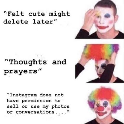 """Face - """"Felt cute might delete later"""" """"Thoughts and prayers"""" """"Instagram does not have permission to sell or use my photos or conversations..."""