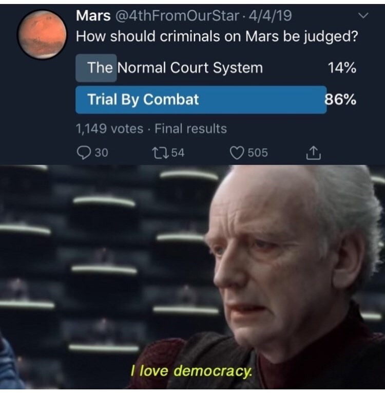 meme - Sky - Mars @4thFromOurStar 4/4/19 How should criminals on Mars be judged? The Normal Court System 14% Trial By Combat 86% 1,149 votes Final results 30 t154 505 T love democracy