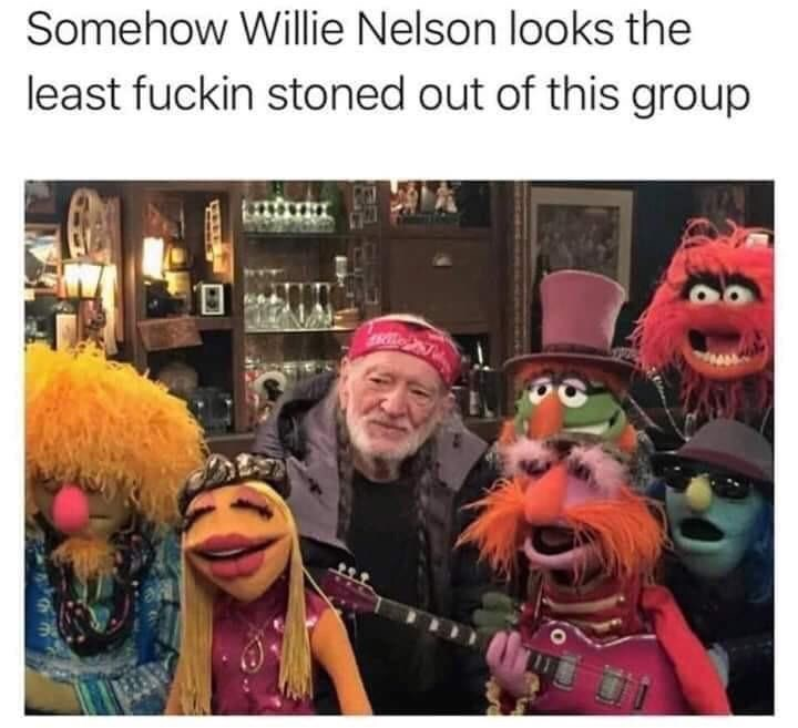 meme - Cartoon - Somehow Willie Nelson looks the least fuckin stoned out of this group