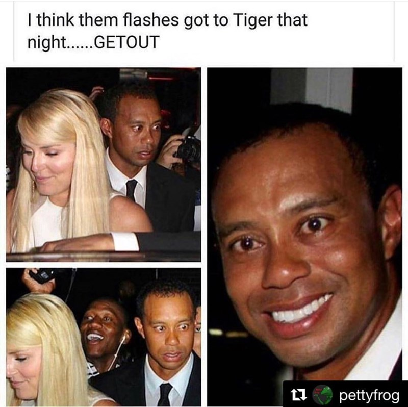 meme - Face - I think them flashes got to Tiger that nigh...GETOUT pettyfrog