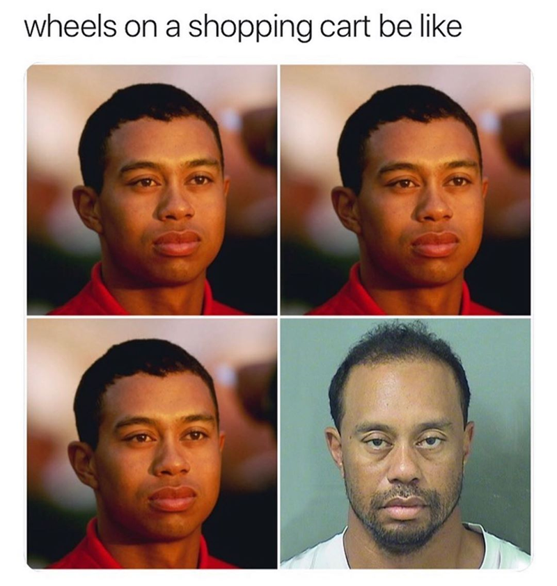 Funny meme about shopping cart wheels.