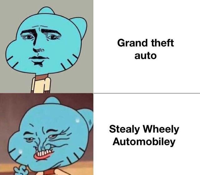 Cartoon - Grand theft auto Stealy Wheely Automobiley