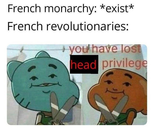 Cartoon - French monarchy: *exist* French revolutionaries: +you have lOst head privilege Werd
