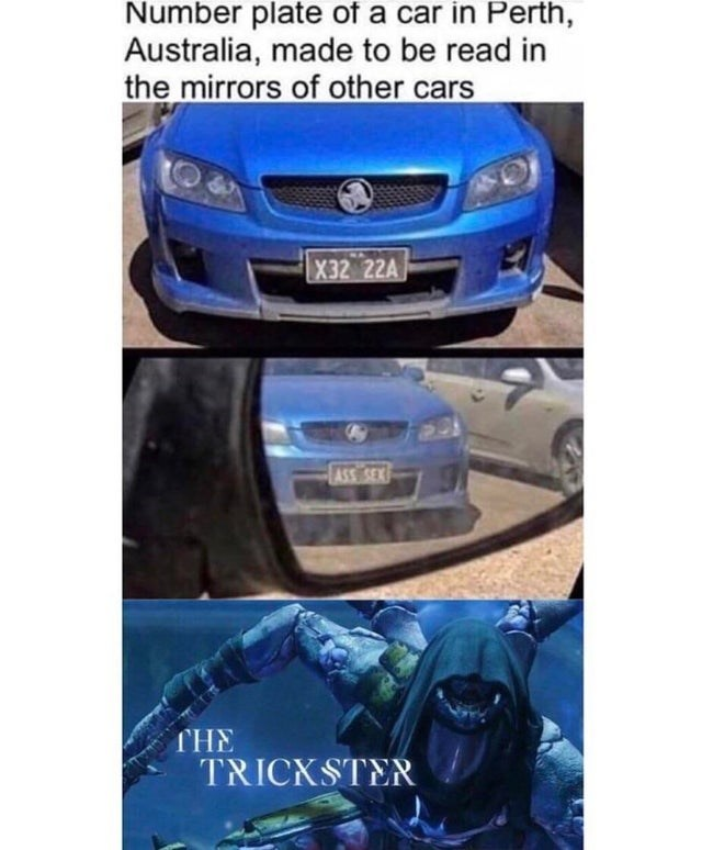 Automotive exterior - Number plate of a car in Perth, Australia, made to be read in the mirrors of other cars X32 22A THE TRICKSTER