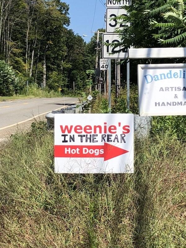 signs - Sign - NORTH 32 SPEE LIMIT 40 Dandeli ARTISA & HANDMA weenie's IN THE REAR Hot Dogs