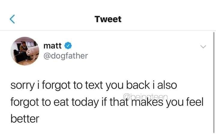 meme - Text - Tweet matt @dogfather sorry i forgot to text you back i also forgot to eat today if that makes you feel peinteen better