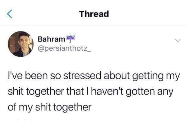 meme - Text - Thread Bahram @persianthotz I've been so stressed about getting my shit together that I haven't gotten any of my shit together