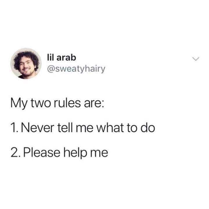 meme - Text - lil arab @sweatyhairy My two rules are: 1. Never tell me what to do 2. Please help me
