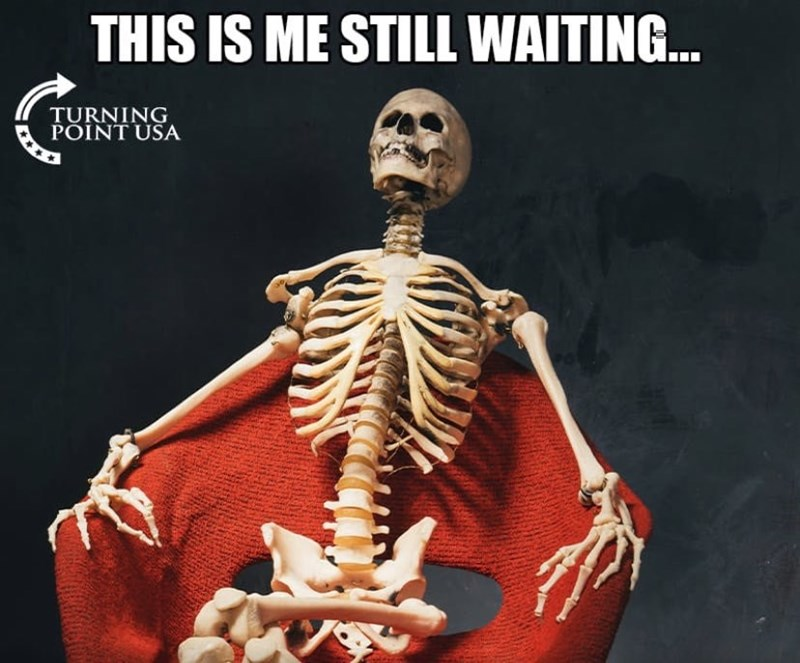 cropped boomer meme - Skeleton - THIS IS ME STILL WAITING... TURNING POINT USA