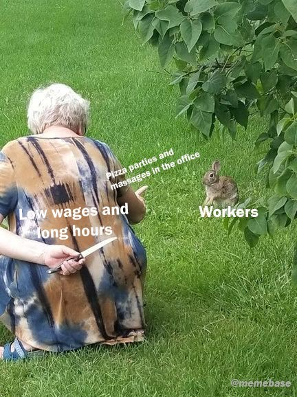 Grass - Pizza parties and massages in the office Low wages and ong hours Workers @memebase