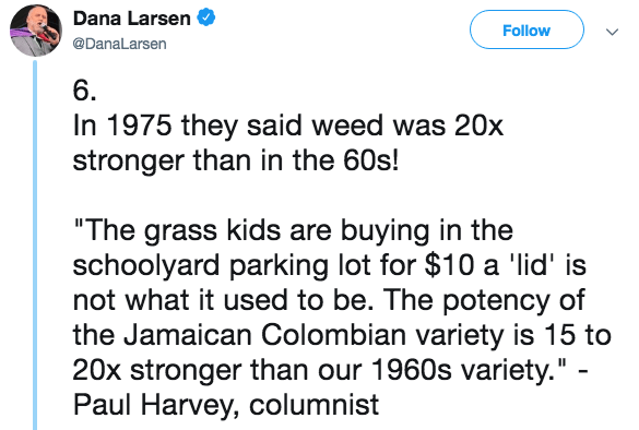 """Text - Dana Larsen Follow @DanaLarsen 6. In 1975 they said weed was 20x stronger than in the 60s! """"The grass kids are buying in the schoolyard parking lot for $10 a 'lid' is not what it used to be. The potency of the Jamaican Colombian variety is 15 to 20x stronger than our 1960s variety."""" - Paul Harvey, columnist"""