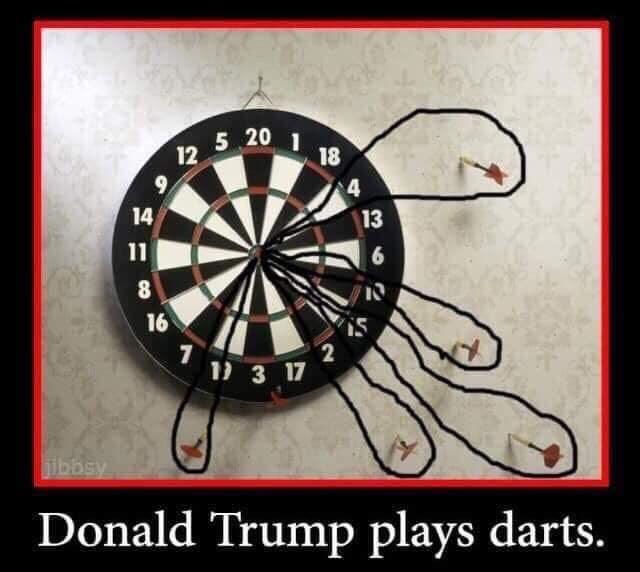 Dartboard - 5 20 1 18 4 14 13 11 6 8 16 2 1 3 17 jibbsy Donald Trump plays darts. 12