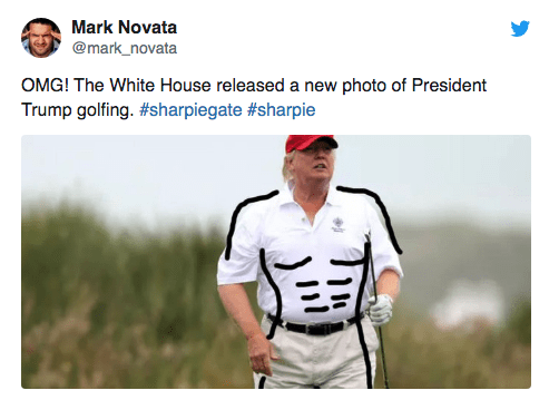 Uniform - Mark Novata @mark_novata OMG! The White House released a new photo of President Trump golfing. #sharpiegate #sharpie