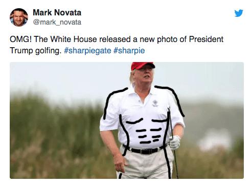Uniform - Mark Novata @mark_novata OMG! The White House released a new photo of President Trump golfing. #sharpiegate #sharpie