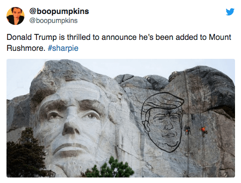 Landmark - @boopumpkins @boopumpkins Donald Trump is thrilled to announce he's been added to Mount Rushmore. #sharpie