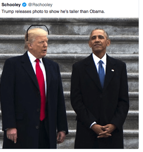 Suit - Schooley @Rschooley Trump releases photo to show he's taller than Obama.