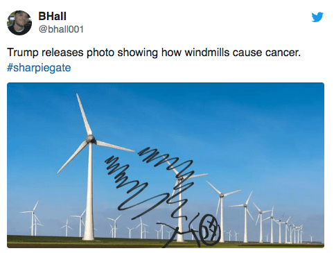 Wind turbine - ВHall @bhall001 Trump releases photo showing how windmills cause cancer. #sharpiegate