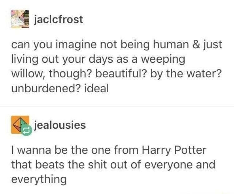 Text - jaclcfrost can you imagine not being human & just living out your days as a weeping willow, though? beautiful? by the water? unburdened? ideal jealousies wanna be the one from Harry Potter that beats the shit out of everyone and everything