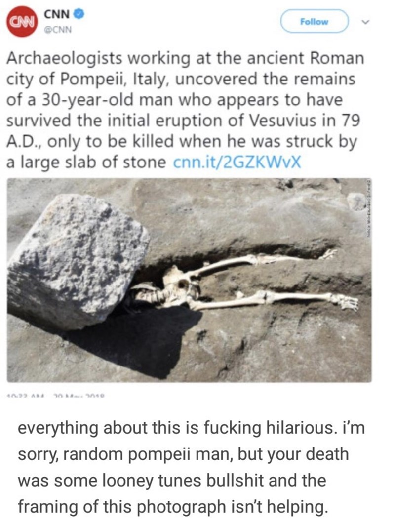 Text - CAN CNN Follow @CNN Archaeologists working at the ancient Roman city of Pompeii, Italy, uncovered the remains of a 30-year-old man who appears to have survived the initial eruption of Vesuvius in 79 A.D., only to be killed when he was struck by a large slab of stone cnn.it/2GZKWVX 040 n23 A everything about this is fucking hilarious. i'm sorry, random pompeii man, but your death was some looney tunes bullshit and the framing of this photograph isn't helping.