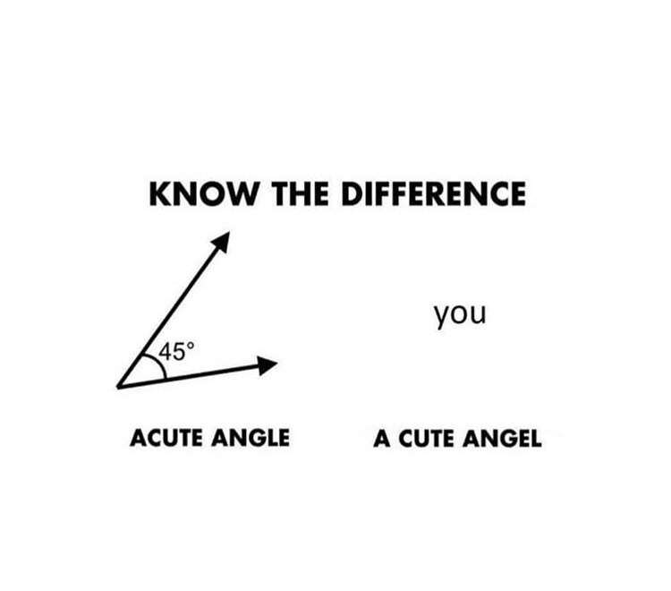 Text - KNOW THE DIFFERENCE you 45° ACUTE ANGLE A CUTE ANGEL