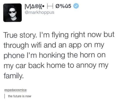 Text - MA®K H0%û5 @markhoppus True story. I'm flying right now but through wifi and an app on my phone I'm honking the horn on my car back home to annoy my family. espadacosmica the future is now