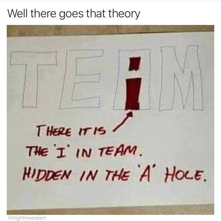 Text - Well there goes that theory TE T HERE IT IS THE I IN TEAM HIDDEN IN THE A HOLE. @highfiveexpert