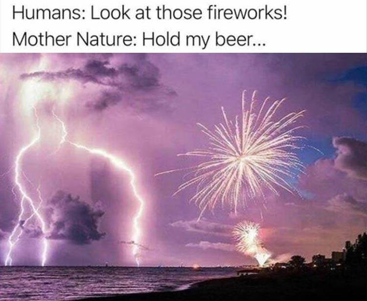 Nature - Humans: Look at those fireworks! Mother Nature: Hold my bee...