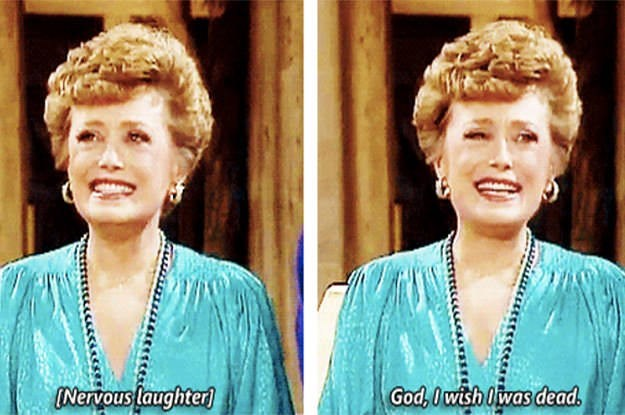 """Funny moment from 'The Golden Girls' - """"[Nervous laughter] God, I wish l was dead"""""""