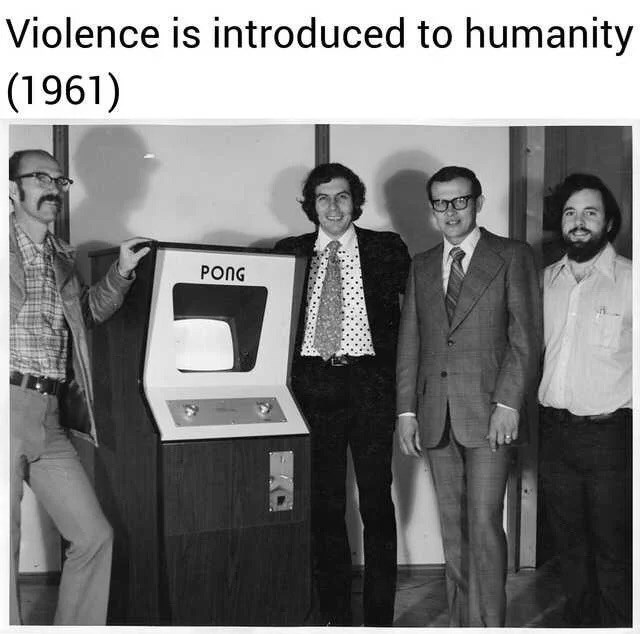 Text - Violence is introduced to humanity (1961) PONG