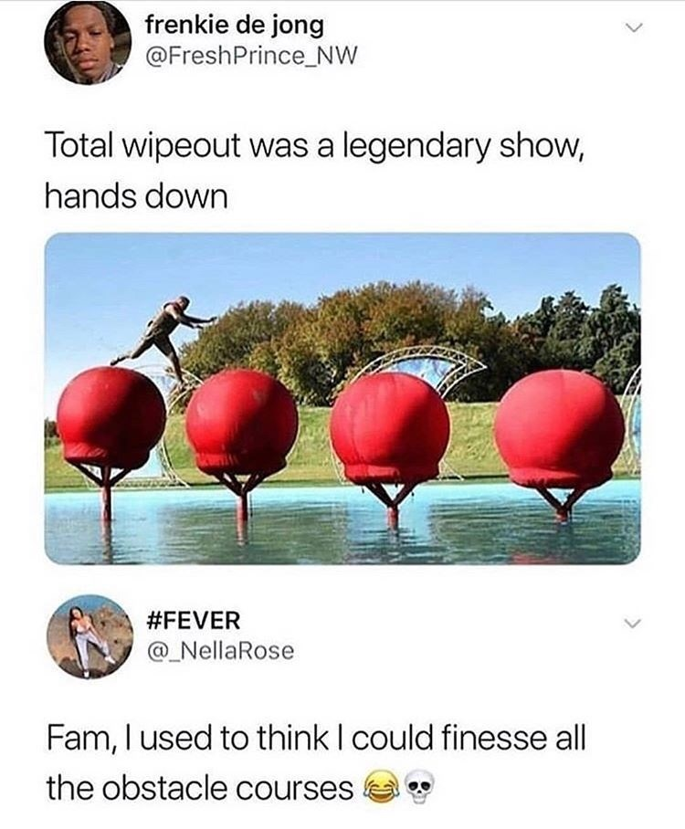 Plant - frenkie de jong @FreshPrince_Nw Total wipeout was a legendary show, hands down #FEVER @ NellaRose Fam, I used to think I could finesse all the obstacle courses