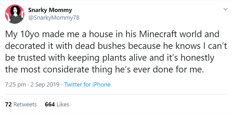 Text - Snarky Mommy @SnarkyMommy78 My 10yo made me a house in his Minecraft world and decorated it with dead bushes because he knows I can't be trusted with keeping plants alive and it's honestly the most considerate thing he's ever done for me. 7:25 pm 2 Sep 2019 Twitter for iPhone 664 Likes 72 Retweets