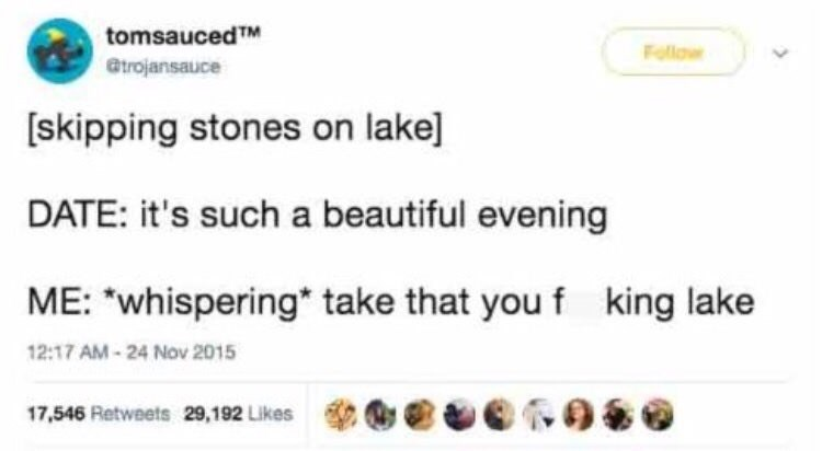 """Text - tomsaucedTM Follow Gtrojansauce [skipping stones on lake] DATE: it's such a beautiful evening ME: """"whispering take that you f king lake 12:17 AM-24 Nov 2015 17,546 Retweets 29,192 Likes"""