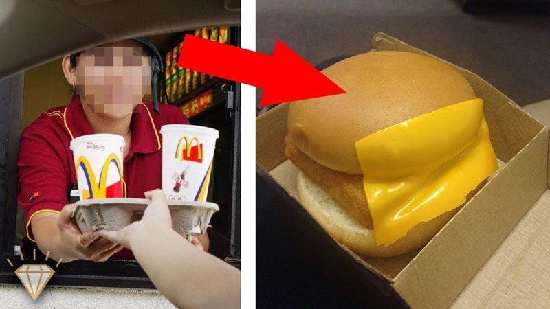 Funny pic of a slice of cheese that was placed on the outside of a McDonald's burger