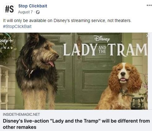 """Dog - #S Stop Clickbait August 7 It will only be available on Disney's streaming service, not theaters. #StopClickBait LADY TRAM AND THE INSIDETHEMAGIC.NET Disney's live-action """"Lady and the Tramp"""" will be different from other remakes"""