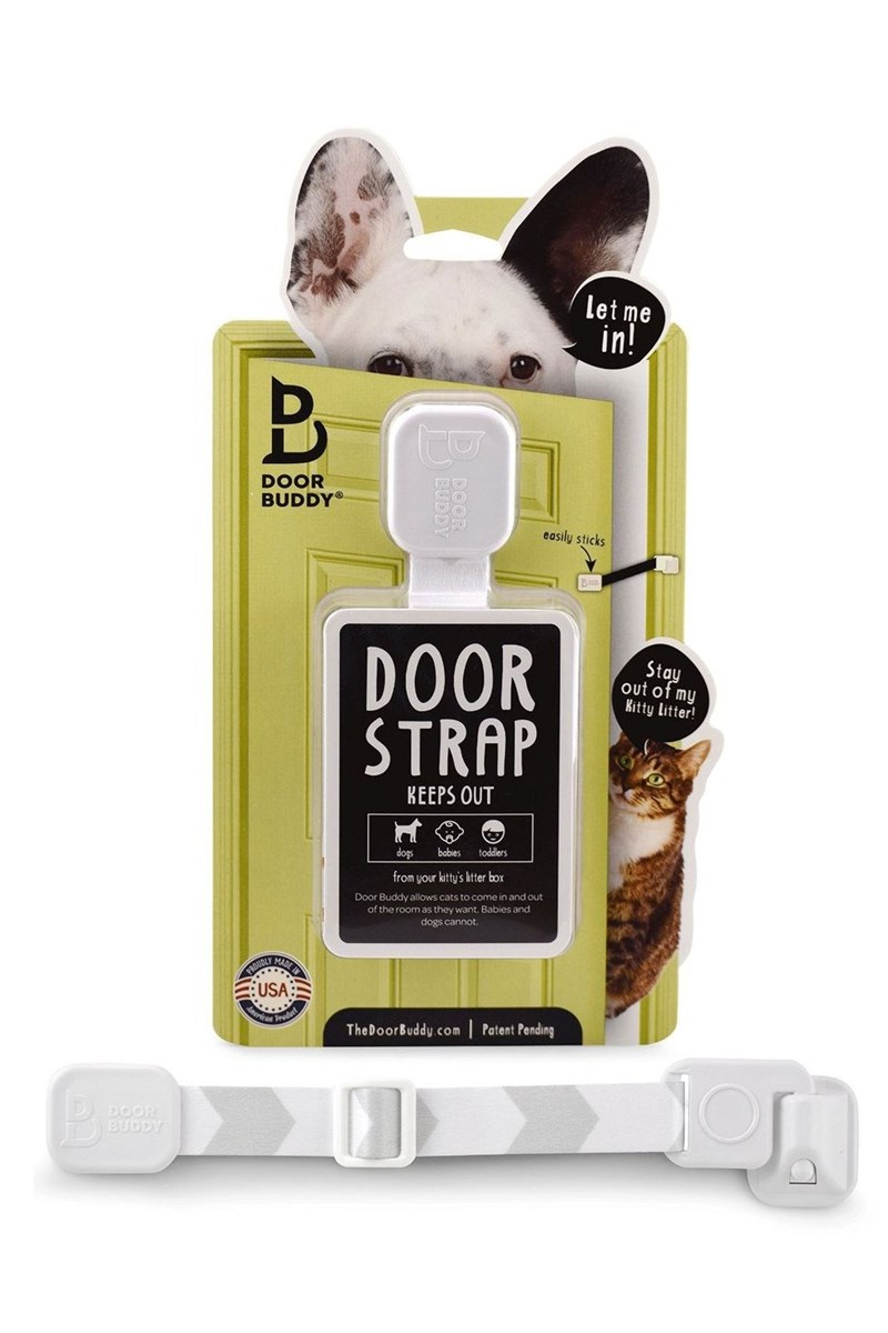 Let me in! DOOR BUDDY easily sticks DOOR STRAP Stay out of my Kitty Litter! KEEPS OUT toddlers babies dogs from your kitty's ltter box Door Buddy allows cats to come in and out of the room as they want. Babies and dogs cannot. MADE PRODDLY USA Patent Pending TheDoorBuddy.com BEA DOOR EUDDY