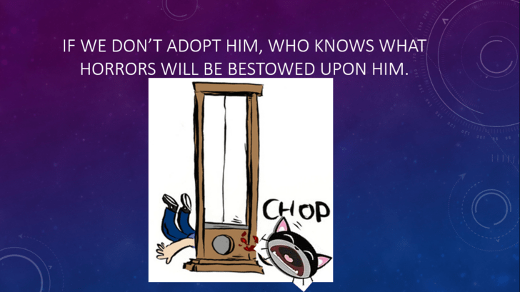 Text - IF WE DON'T ADOPT HIM, WHO KNOWS WHAT HORRORS WILL BE BESTOWED UPON HIM. CHOP