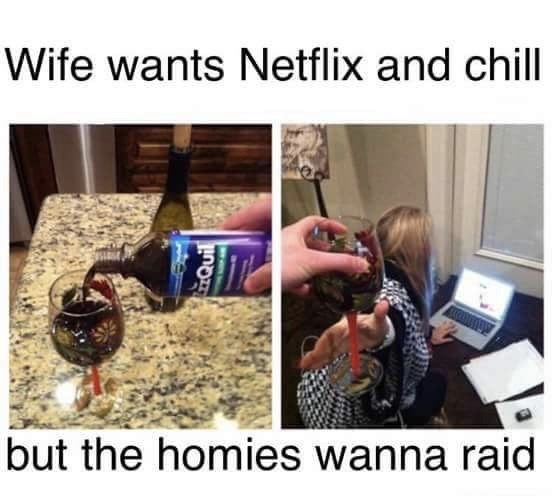 Human - Wife wants Netflix and chill but the homies wanna raid QuIl