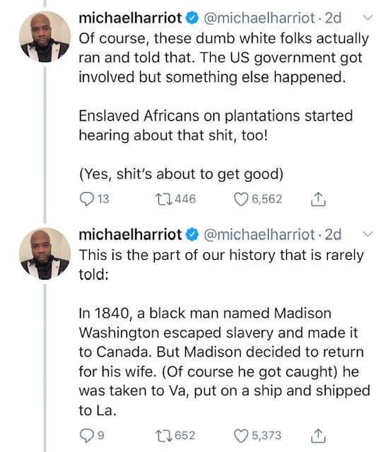 Text - michaelharriot@michaelharriot 2d Of course, these dumb white folks actually ran and told that. The US government got involved but something else happened Enslaved Africans on plantations started hearing about that shit, too! (Yes, shit's about to get good) 13 13.446 6,562 michaelharriot @michaelharriot 2d This is the part of our history that is rarely told: In 1840, a black man named Madison Washington escaped slavery and made it to Canada. But Madison decided to return for his wife. (Of