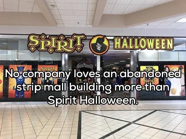 Building - SPIRTT CHALLOWEEN NOW HIRIN SPIRTT No.company loves an abandoned strip mall building more than Spirit Halloween
