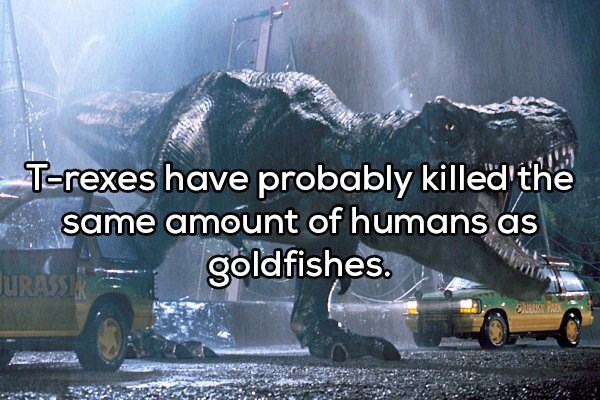 Motor vehicle - T-rexes have probably killed' the same amount of humans as goldfishes. URASSIN OURAUST PARK