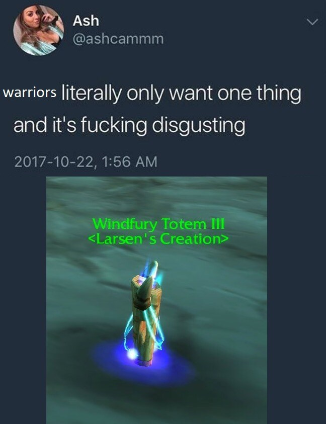 World of Warcraft - Text - Ash @ashcammm warriors literally only want one thing and it's fucking disgusting 2017-10-22, 1:56 AM Windfury Totem III <Larsen's Creation>