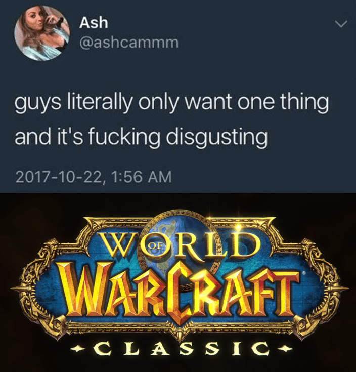 World of Warcraft - Text - Ash @ashcammm guys literally only want one thing and it's fucking disgusting 2017-10-22, 1:56 AM WORLD WARCRAFT C LA S SIC