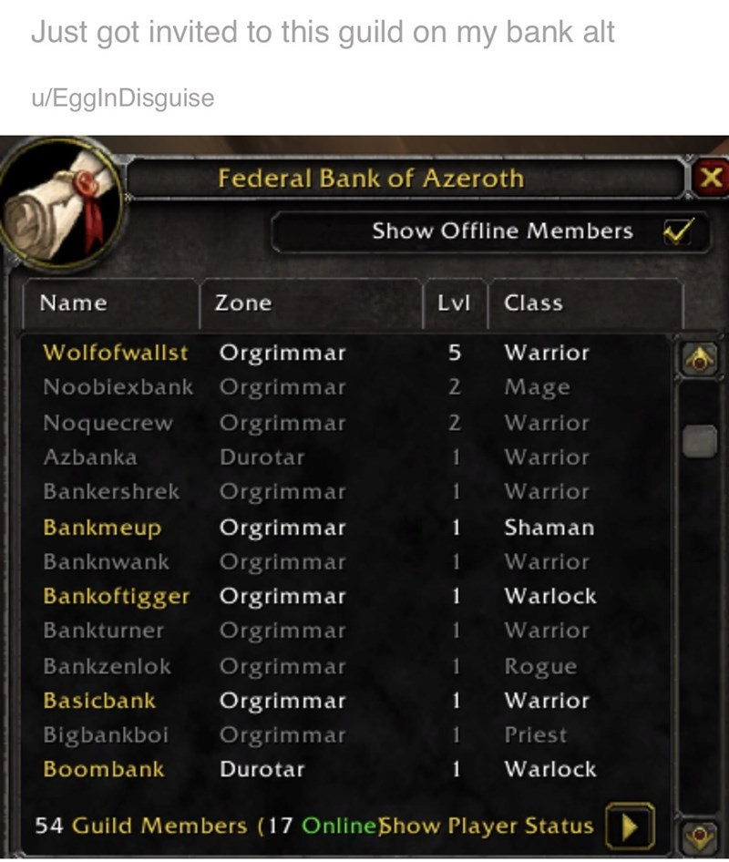 World of Warcraft - Text - Just got invited to this guild on my bank alt u/EggInDisguise Federal Bank of Azeroth Show Offline Members Name Zone Lvl Class Orgrimmar Wolfofwallst 5 Warrior Noobiexbank Orgrimmar Mage 2 Noquecrew Orgrimmar 2 Warrior Azbanka Durotar Warrior 1 Bankershrek Orgrimmar Warrior 1 Bankmeup Orgrimmar 1 Shaman Orgrimmar Banknwank 1 Warrior Bankoftigger Orgrimmar 1 Warlock Bankturner Orgrimmar Warrior Bankzenlok Orgrimmar Rogue Basicbank Orgrimmar Warrior 1 Bigbankboi Orgrimma