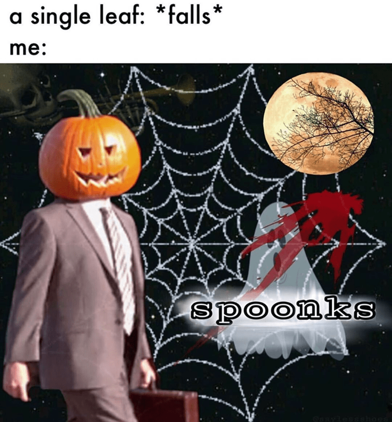 Funny stonks meme that says spoonks instead of stonks, when a leaf hits the ground, loves fall.