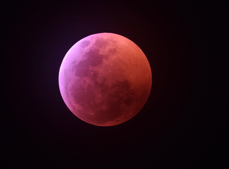 picture total eclipse moon pink january 2019