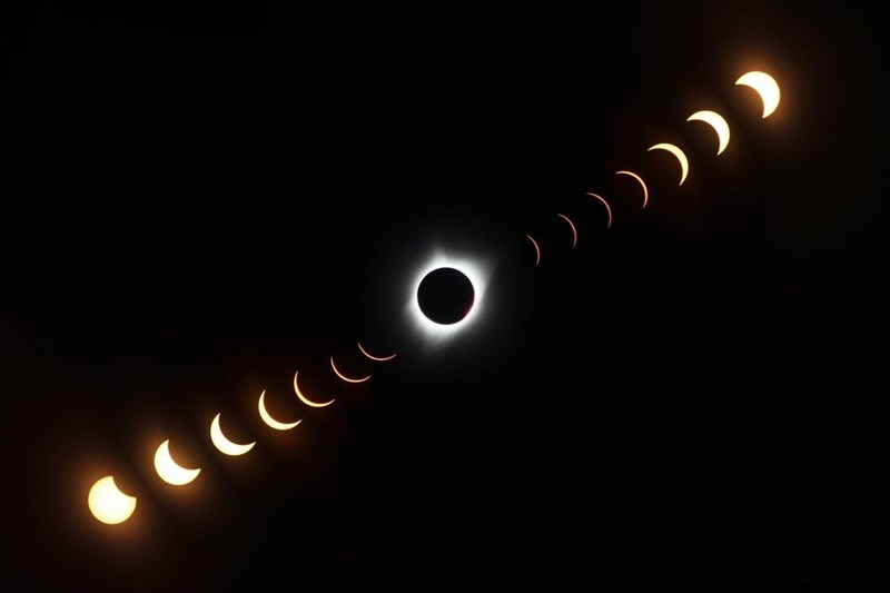 time lapse of a solar eclipse of the moon