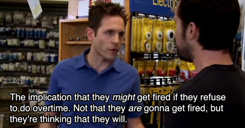 Scene from 'It's Always Sunny' where Dennis explains to Mac the 'implication' for employers