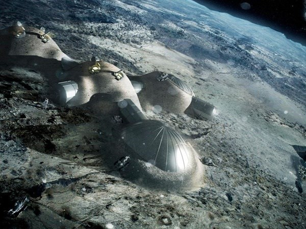 imagined picture of space colony on the moon