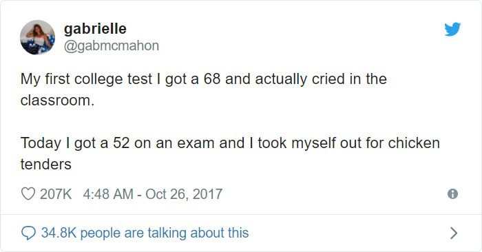Text - gabrielle @gabmcmahon My first college test I got a 68 and actually cried in the classroom Today I got a 52 on an exam and I took myself out for chicken tenders 207K 4:48 AM - Oct 26, 2017 34.8K people are talking about this